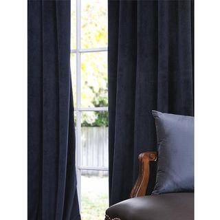 Signature Midnight Blue Velvet 108 inch Blackout Curtain Panel