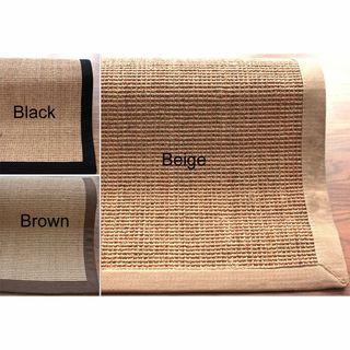 Handmade Eco Natural Fiber Cotton Border Sisal Rug (6 x 9
