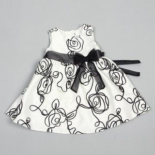Rare Editions Infant Girls Satin with Black Bow Dress