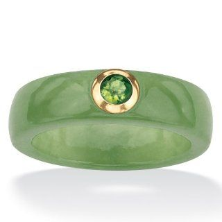 PalmBeach Jewelry .26 TCW Round Genuine Peridot and