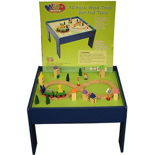 Wood World 45 piece Wooden Toy Train Set with Multipurpose Table