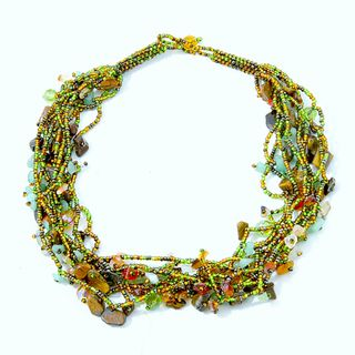 Luzy Amethyst and Glass Bead Foliage Necklace (Guatemala