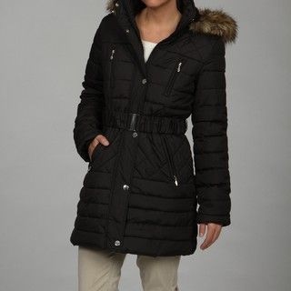 Esprit Womens Black Belted Faux fur Trim Jacket