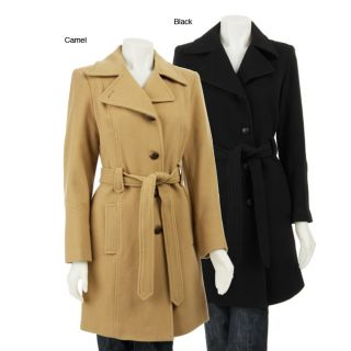 AK Anne Klein Womens Belted Wool Coat