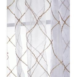 Lattice White Embroidered Organza 108 inch Sheer Curtain Panel