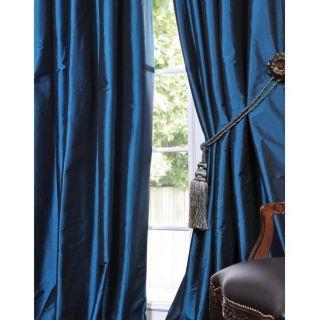 Blue Solid Faux Silk Taffeta 108 inch Curtain Panel