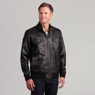 Izod Mens Lambskin Leather Banded Bottom Jacket