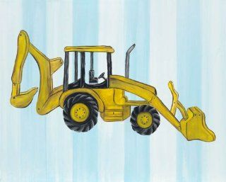 Boys Under Construction Canvas Reproduction   Backhoe