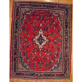 Persian Hand knotted Sarouk Lilihan Red Wool Rug (108 x 1310