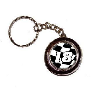 18 Number Checkered Flag Racing   Key Chain Keychain Ring