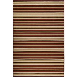 Meticulously Woven Contemporary Free form Tan/Red Stripe Abstract Rug