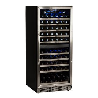 EdgeStar Stainless Steel and Black 110 Bottle Built In Dual Zone Wine