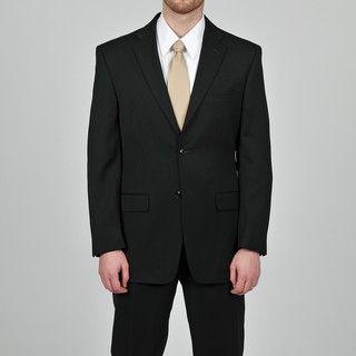 Jones New York Mens Athletic Fit Black Wool Suit