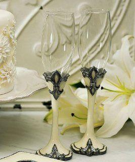 Decorative Fleur De Lis Wedding Toasting Flutes Kitchen