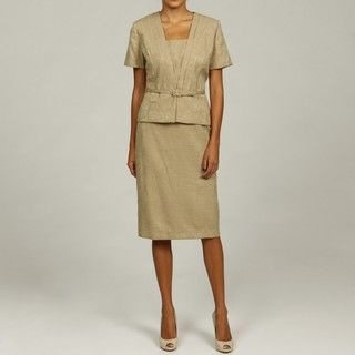 Danny & Nicole Womens V neck Embossed Skirt Suit