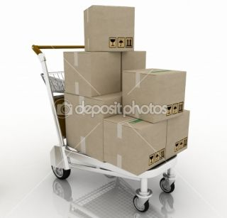 Hand truck with cardboard boxes  Photographie 3DDock © #8364963