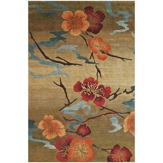 Nepalese Hand knotted Kimono Gold Wool Rug (2 x 3)