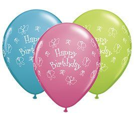 Set of 12 Birthday Butterfly Latex Balloons 11 High
