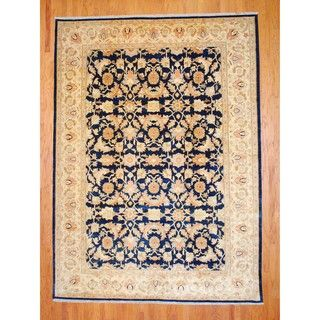 Afghan Hand knotted Vegetable Dye Navy/ Ivory Wool Rug (93 x 13