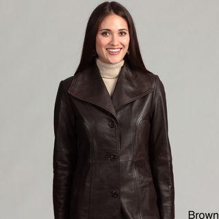 Collezione Italia Womens Leather Walker Coat