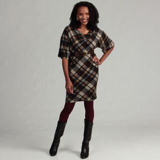 Jessica Howard Womens Plaid Belted Sheath Dress