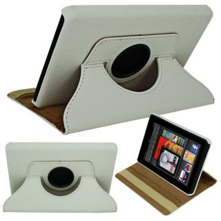 SKQUE  Kindle Fire White Rotating Leather Case