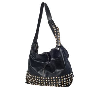 WE GO by Mania Soft Leather Studded Bucket Bag