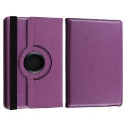 Purple Leather Swivel Case/ USB Cable for  Kindle Fire