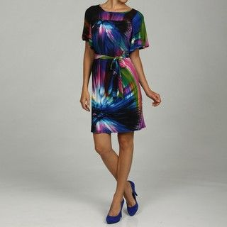 Tiana B Womens Starburst Printed Jersey Dress w/Tie Sash Waist