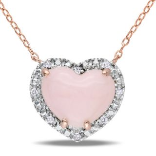 Miadora Pink Silver Pink Opal and 1/10ct TDW Diamond Heart Necklace (G
