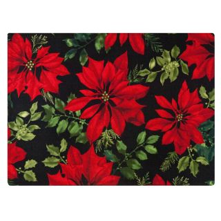 Crimson Placemat by Rose Tree Mistletoe and Holly Placemats (Set of