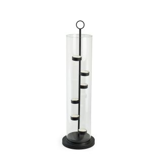 Iron Stairstep Tower/ Glass Hurricane Candle Holder Today $38.99 Sale