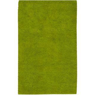 Hand woven Arriba Lime Green Wool Rug (5 x 8)