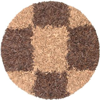 Brown and Tan Leather Shag Rug (6 Round)