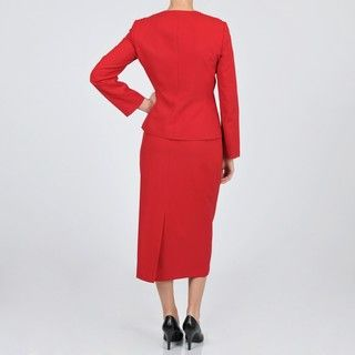 Emily Womens Red Plus Size Beaded Ruffle Skirt Suit