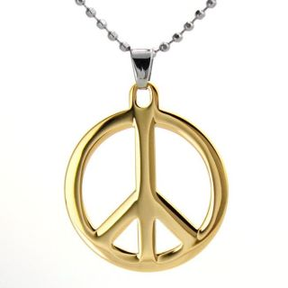 Goldtone Stainless Steel Polished Peace Sign Necklace