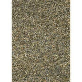 Hand woven Baxter Teal/ Gold Shag Rug (50 x 76)