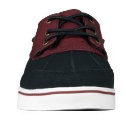 Lugz Mens Marina Black/ Burgundy Canvas Boat Shoes