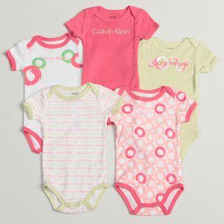 Calvin Klein Newborn Girls Assorted Bodysuits (Set of 5)
