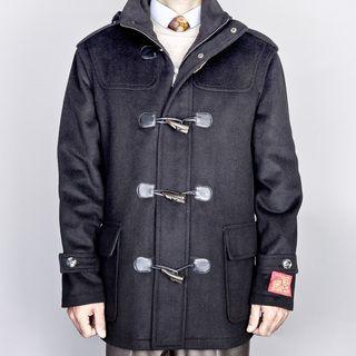 Mantoni Mens Black Wool/ Cashmere Blend Toggle Coat