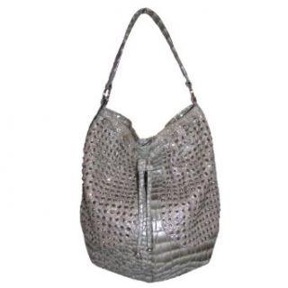 Blue Elegance Crystal Studded Tote Handbag (Gray