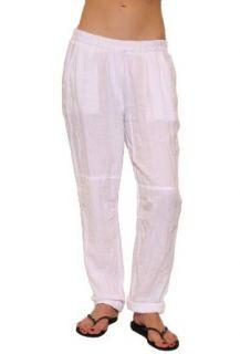 Womens Graham & Spencer Woven Linen Pant in White Size M