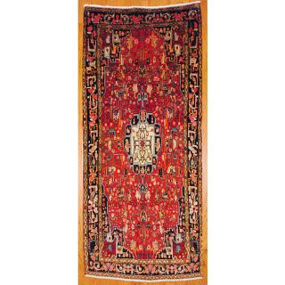 Persian Hand Knotted Hamadan Red and Navy Wool Rug (5 x 117