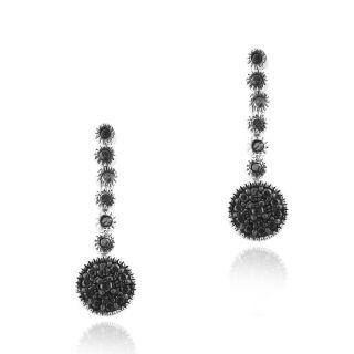 DB Designs Sterling Silver Black Diamond Accent Circle Drop Dangle