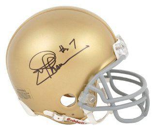 Joe Theismann Autographed Mini Helmet   notre Dame gold