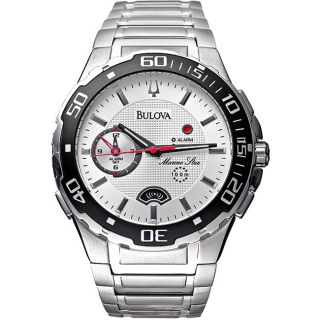 Bulova Mens Marine Star Stainless Steel Silver Dial Watch