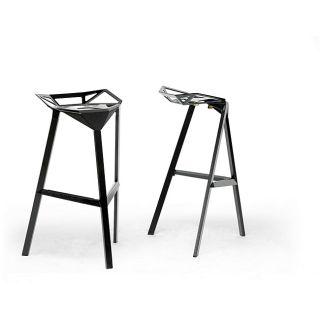 Kaysa Black Aluminum Modern Bar Stool (Set of 2)