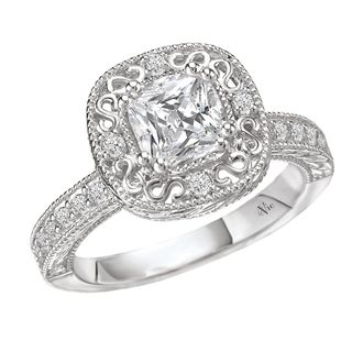 14k Gold Cushion CZ and 1/4ct TDW Diamond Engagement Ring (G H, SI1