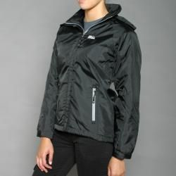 First Down Womens Black Hooded Tech Jacket