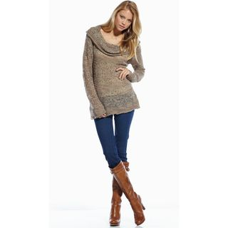 Elan Womens Mixed Yarn Cowl Neck Sweater